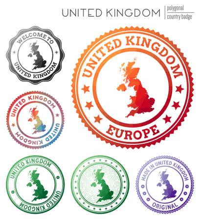 United Kingdom badge. Colorful polygonal country symbol. Multicolored geometric United Kingdom set. Vector illustration.
