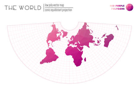 Polygonal map of the world. Conic equidistant projection of the world. Red Purple colored polygons. Awesome vector illustration.