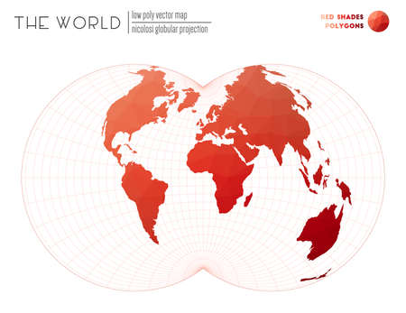 Low poly world map. Nicolosi globular projection of the world. Red Shades colored polygons. Awesome vector illustration.