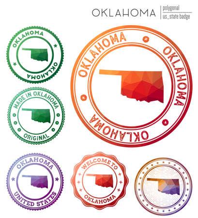 Oklahoma badge. Colorful polygonal us state symbol. Multicolored geometric Oklahoma  set. Vector illustration.