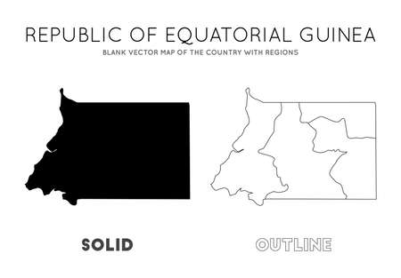 Equatorial Guinea map. Blank vector map of the Country with regions. Borders of Equatorial Guinea for your infographic. Vector illustration.
