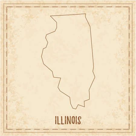 Pirate map of Illinois. Blank vector map of the Us State. Vector illustration. Illusztráció