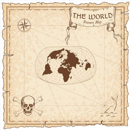 World treasure map. Pirate navigation atlas. Jacques Bertins 1953 projection. Old map vector. Illustration
