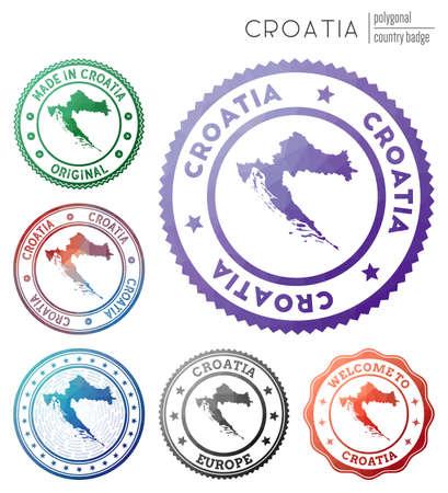 Croatia badge. Colorful polygonal country symbol. Multicolored geometric Croatia  set. Vector illustration.