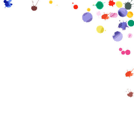 Watercolor confetti on white background. Rainbow colored blobs square corner. Colorful bright hand painted illustration. Happy celebration party background. Captivating vector illustration. Illusztráció