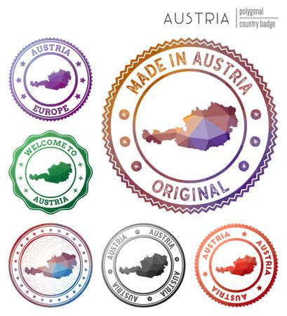 Austria badge. Colorful polygonal country symbol. Multicolored geometric Austria set. Vector illustration. Ilustrace