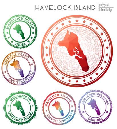 Havelock Island badge. Colorful polygonal island symbol. Multicolored geometric Havelock Island set. Vector illustration.