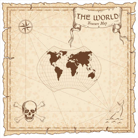 World treasure map. Pirate navigation atlas. Ginzburg IX projection. Old map vector.