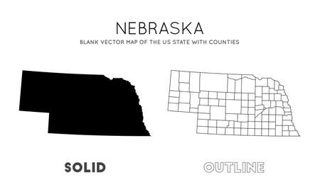 Nebraska map. Blank vector map of the Us State with counties. Borders of Nebraska for your infographic. Vector illustration.