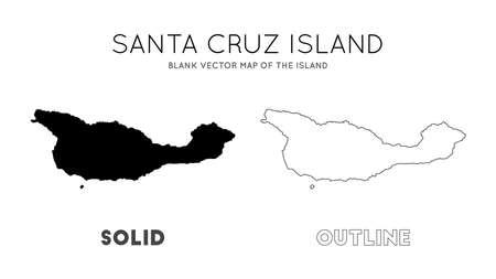 Santa Cruz Island map. Blank vector map of the Island. Borders of Santa Cruz Island for your infographic. Vector illustration. Illusztráció