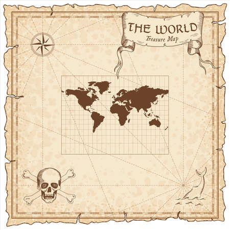World treasure map. Pirate navigation atlas. Miller cylindrical projection. Old map vector.