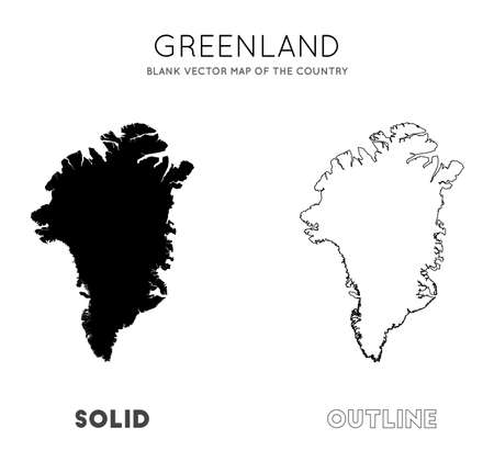Greenland map. Blank vector map of the Country. Borders of Greenland for your infographic. Vector illustration.