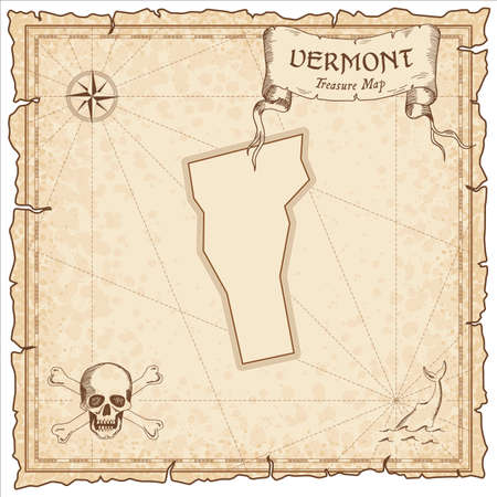Vermont pirate map. Ancient style map template. Old us state borders. Vector illustration.