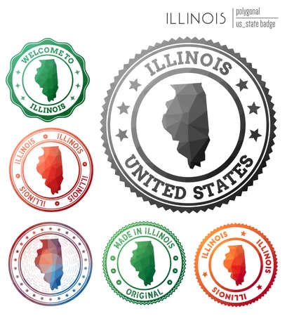 Illinois badge. Colorful polygonal us state symbol. Multicolored geometric Illinois  set. Vector illustration.