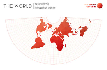 Low poly world map. Conic equidistant projection of the world. Red Shades colored polygons. Elegant vector illustration.