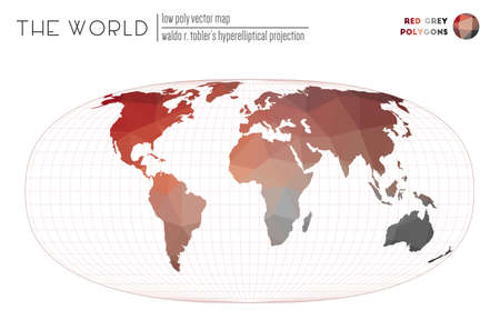 Polygonal map of the world. Waldo R. Tobler's hyperelliptical projection of the world. Red Grey colored polygons. Amazing vector illustration.
