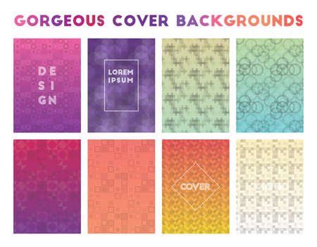 Gorgeous Cover Backgrounds. Actual geometric patterns. Admirable vector illustration.