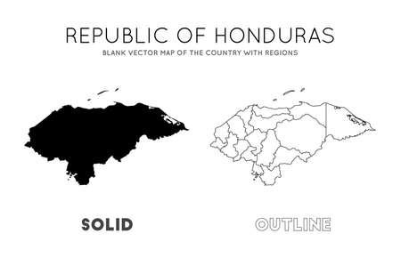 Honduras map. Blank vector map of the Country with regions. Borders of Honduras for your infographic. Vector illustration.