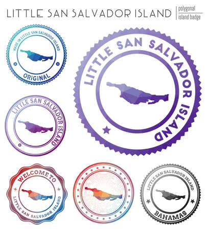 Little San Salvador Island badge. Colorful polygonal island symbol. Multicolored geometric Little San Salvador Island  set. Vector illustration.