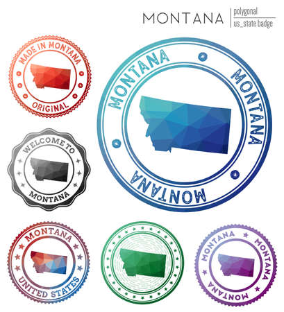 Montana badge. Colorful polygonal us state symbol. Multicolored geometric Montana  set. Vector illustration.  イラスト・ベクター素材