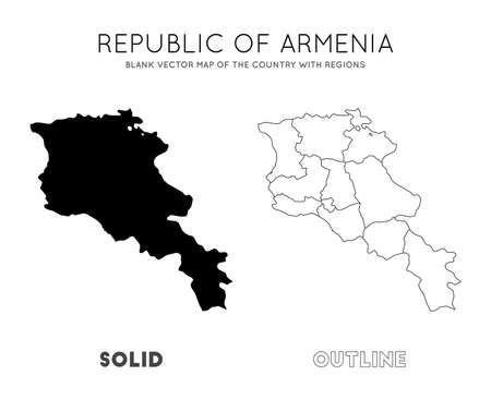 Armenia map. Blank vector map of the Country with regions. Borders of Armenia for your infographic. Vector illustration.