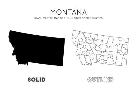 Montana map. Blank vector map of the Us State with counties. Borders of Montana for your infographic. Vector illustration.