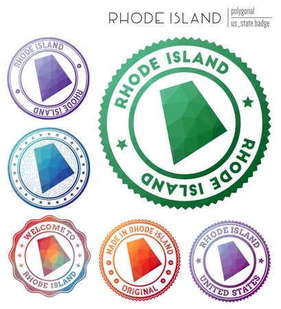 Rhode Island badge. Colorful polygonal us state symbol. Multicolored geometric Rhode Island  set. Vector illustration.