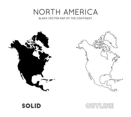 North America map. Blank vector map of the Continent. Borders of North America for your infographic. Vector illustration.