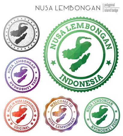 Nusa Lembongan badge. Colorful polygonal island symbol. Multicolored geometric Nusa Lembongan set. Vector illustration.