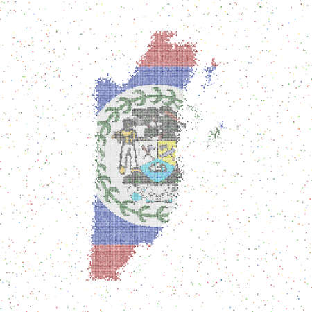 Map of Belize. Mosaic style map with flag of Belize. Vector illustration.  イラスト・ベクター素材