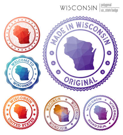 Wisconsin badge. Colorful polygonal us state symbol. Multicolored geometric Wisconsin set. Vector illustration.