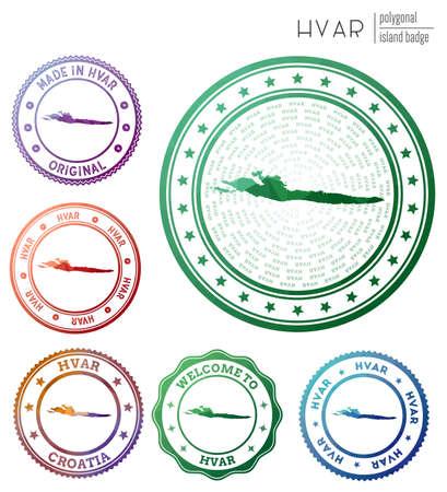 Hvar badge. Colorful polygonal island symbol. Multicolored geometric Hvar  set. Vector illustration. Ilustração