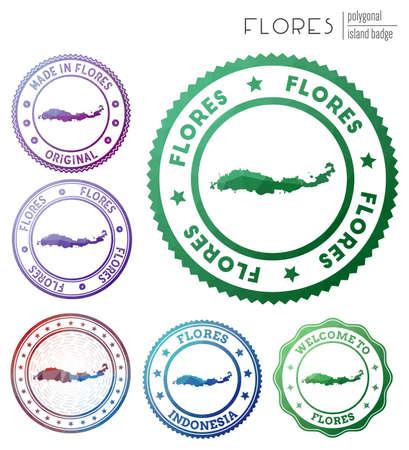 Flores badge. Colorful polygonal island symbol. Multicolored geometric Flores set. Vector illustration.