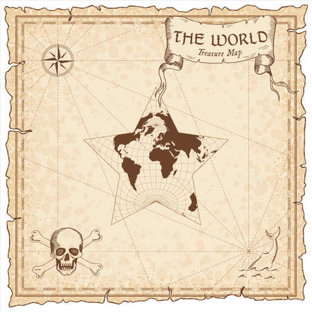 World treasure map. Pirate navigation atlas. Berghaus star projection. Old map vector. Illustration