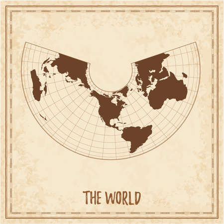 Old world map. Albers equal-area conic projection. Medieval style treasure map. Ancient land navigation atlas. Vector illustration. Çizim