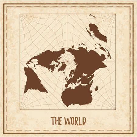 Old world map. Gringorten Quincuncial square equal-area projection. Medieval style treasure map. Ancient land navigation atlas. Vector illustration.