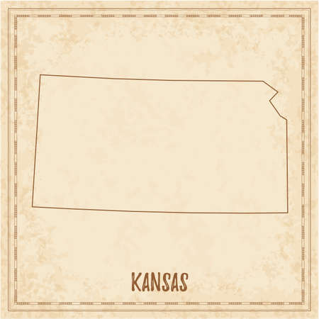 Pirate map of Kansas. Blank vector map of the Us State. Vector illustration.