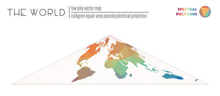 Polygonal map of the world. Collignon equal-area pseudocylindrical projection of the world. Spectral colored polygons. Elegant vector illustration.
