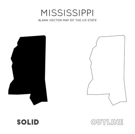Mississippi map. Blank vector map of the Us State. Borders of Mississippi for your infographic. Vector illustration.  イラスト・ベクター素材