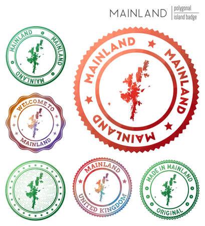 Mainland badge. Colorful polygonal island symbol. Multicolored geometric Mainland  set. Vector illustration. 写真素材 - 130110110
