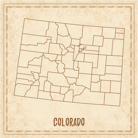 Pirate map of Colorado. Blank vector map of the Us State with counties. Vector illustration.