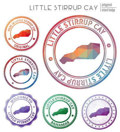 Little Stirrup Cay badge. Colorful polygonal island symbol. Multicolored geometric Little Stirrup Cay  set. Vector illustration.  イラスト・ベクター素材