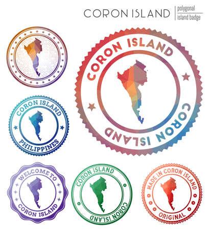 Coron Island badge. Colorful polygonal island symbol. Multicolored geometric Coron Island  set. Vector illustration.