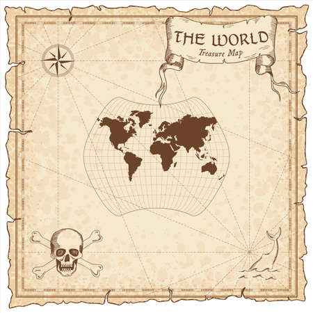 World treasure map. Pirate navigation atlas. Larrivee projection. Old map vector.