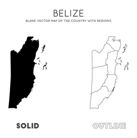 Belize map. Blank vector map of the Country with regions. Borders of Belize for your infographic. Vector illustration.  イラスト・ベクター素材