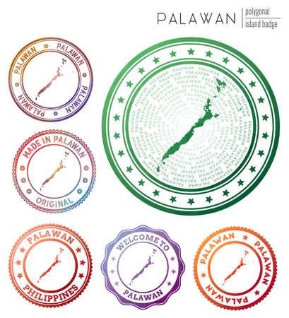 Palawan badge. Colorful polygonal island symbol. Multicolored geometric Palawan  set. Vector illustration. Ilustrace