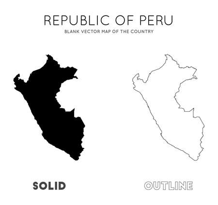 Peru map. Blank vector map of the Country. Borders of Peru for your infographic. Vector illustration. Ilustração