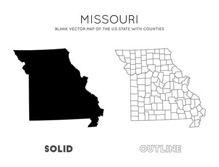 Missouri map. Blank vector map of the Us State with counties. Borders of Missouri for your infographic. Vector illustration.