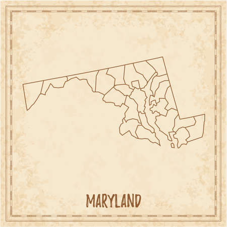Pirate map of Maryland. Blank vector map of the Us State with counties. Vector illustration.