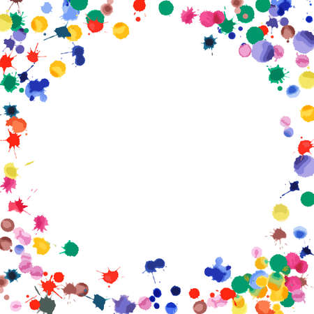 Watercolor confetti on white background. Rainbow colored blobs square vignette. Colorful bright hand painted illustration. Happy celebration party background. Divine vector illustration.